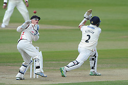Alex Davies of Lancashire attempts to catch the ball from Michael Klinger of Gloucestershire - Photo mandatory by-line: Dougie Allward/JMP - Mobile: 07966 386802 - 08/06/2015 - SPORT - Football - Bristol - County Ground - Gloucestershire Cricket v Lancashire Cricket Day 2 - LV= County Championship