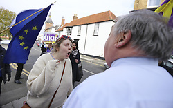 April 29, 2017 - Hartlepool, County Durham, UK - Hartlepool UK. Pro EU campaigners confront UKIP party members in Hartlepool, County Durham, before UKIP leader Paul Nuttall heads out on the campaign trail. (Credit Image: © Andrew Mccaren/London News Pictures via ZUMA Wire)