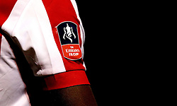 The Emirates FA Cup logo on the Lincoln City shirts - Mandatory by-line: Robbie Stephenson/JMP - 17/01/2017 - FOOTBALL - Sincil Bank Stadium - Lincoln, England - Lincoln City v Ipswich Town - Emirates FA Cup third round replay