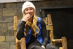 November 23, 2018 - Killington, Vermont, United States - MIKAELA SHIFFRIN of the United States chats with the media before the Killington Cup ski races. (Credit Image: © Christopher Levy/ZUMA Wire)