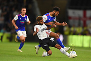 Derby County defender Jayden Bogle (37) tackles Ipswich Town midfielder Grant Ward (18) during the EFL Sky Bet Championship match between Derby County and Ipswich Town at the Pride Park, Derby, England on 21 August 2018.