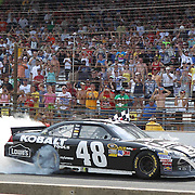 29 July 2012: NASCAR driver Jimmy Johnson (48) burns out after picking up the victory at the Crown Royal presents the Curtiss Shaver 400 at the Brickyard NASCAR Sprint Cup Series race at the Indianapolis Motor Speedway in Indianapolis, IN