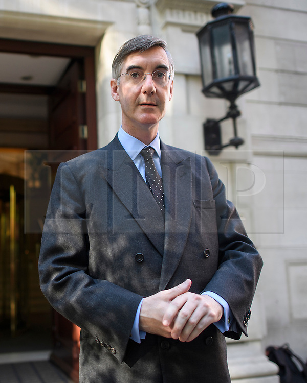 © Licensed to London News Pictures. 29/08/2019. London, UK. Leader of the House of Commons JACOB REES-MOGG is seen at Milbank Studio in Westminster. The government has asked the Queen to suspend Parliament in the days after MPs return to work in September - a few weeks before the Brexit deadline of October 31st. Photo credit: Ben Cawthra/LNP