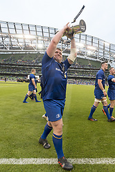 May 27, 2018 - Dublin, Ireland - Tadhg Furlong of Leinster celebrates with Guinness PRO14 trophy during the Guinness PRO14 Final match between Leinster Rugby and Scarlets at Aviva Stadium in Dublin, Ireland on May 26, 2018  (Credit Image: © Andrew Surma/NurPhoto via ZUMA Press)