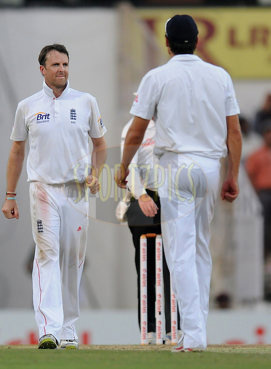 Graeme Swann of England after taking the wicket of Piyush Chawla of India during day three of the 4th Airtel Test Match between India and England held at VCA ground in Nagpur on the 15th December 2012..Photo by  Pal Pillai/BCCI/SPORTZPICS .