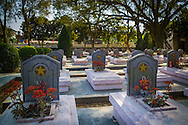 Cemetery of Vietnamese Martyrs in Hill A1  'Eliane 2,' (estimated 644 tombs) Dien Bien Phu City center, Muong Thanh Valley, Dien Bien Province, Vietnam, Southeast Asia