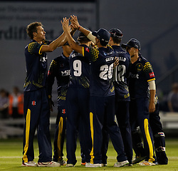 Glamorgan's Michael Hogan celebrates taking the wicket of Gloucestershire's Kieran Noema-Barnett (not pictured)<br /> <br /> Photographer Simon King/Replay Images<br /> <br /> Vitality Blast T20 - Round 8 - Glamorgan v Gloucestershire - Friday 3rd August 2018 - Sophia Gardens - Cardiff<br /> <br /> World Copyright © Replay Images . All rights reserved. info@replayimages.co.uk - http://replayimages.co.uk