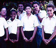 Group of teenager high school students with their teacher, Cayman Brac, Cayman Islands, West Indies 1990