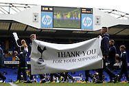 Special 'Thank You' banner paraded around the pitch after full time Barclays premier league match ,Tottenham Hotspur v Aston Villa at White Hart Lane in Tottenham, London  on Sunday 11th May 2014.<br /> pic by John Patrick Fletcher, Andrew Orchard sports photography.
