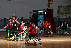 November 18, 2018 - Gaza, Palestine - Players of Al Hilal and Al Salam Team are seen in action during the finals of the wheelchairs basketball championship at the Saad Sayel Hall in Gaza City. (Credit Image: © Ahmad Hasaballah/SOPA Images via ZUMA Wire)