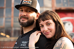 New Yorkers Aaron Hartless of First Manufacturing and Gwendollyn Stanfield after Aaron proposed marriage to Gwendolyn (and she accepted) at the Congregation Show. Charlotte, NC. USA. Saturday April 14, 2018. Photography ©2018 Michael Lichter.