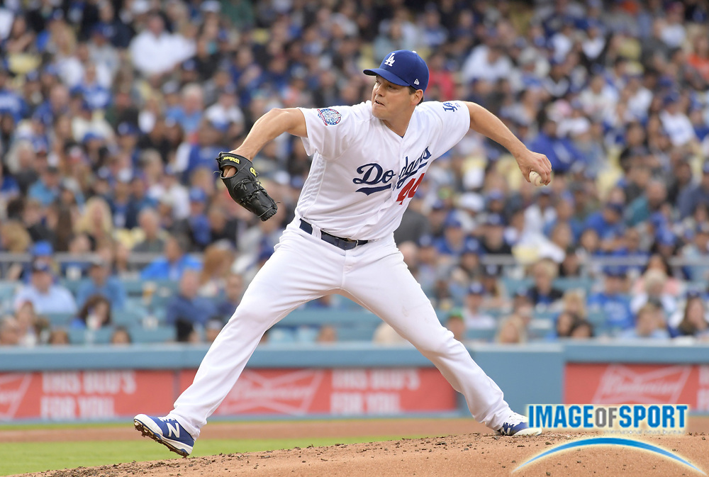 Apr 1, 2018; Los Angeles, CA, USA; Los Angeles Dodgers starting pitcher Rich Hill (44) delivers a pitch against the San Francisco Giants during a MLB baseball game at Dodger Stadium.The Dodgers defeated the Giants 9-0.