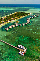 Aerial view, bungalows,  L'Escapade Island Resort, Wing Island, on the New Caledonian Barrier Reef, near Noumea, New Caledonia