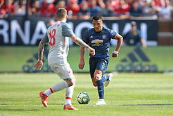 July 28, 2018 - Ann Arbor, Michigan, United States - Forward Alexis Sanchez (7) of Manchester United FC carries the ball up the field under the pressure of left back Alberto Moreno (18) of during an International Champions Cup match between Manchester United and Liverpool at Michigan Stadium in Ann Arbor, Michigan USA, on Wednesday, July 28,  2018. (Credit Image: © Amy Lemus/NurPhoto via ZUMA Press)