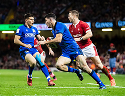 Leonardo Sarto of Italy<br /> <br /> Photographer Simon King/Replay Images<br /> <br /> Six Nations Round 1 - Wales v Italy - Saturday 1st February 2020 - Principality Stadium - Cardiff<br /> <br /> World Copyright © Replay Images . All rights reserved. info@replayimages.co.uk - http://replayimages.co.uk