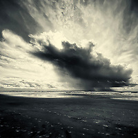 Dramatic skies over the ocean in Del Mar, California as a result of a rainstorm off the coast.