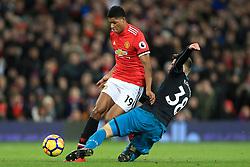 30th December 2017 - Premier League - Manchester United v Southampton - Sam McQueen of Southampton tackles Marcus Rashford of Man Utd - Photo: Simon Stacpoole / Offside.