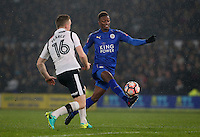 Leicester City's Demarai Gray is fouled by Derby County's Alex Pearce<br /> <br /> Photographer Stephen White/CameraSport<br /> <br /> The Emirates FA Cup Fourth Round - Derby County v Leicester City - Friday 27 January 2017 - Pride Park Stadium - Derby <br />  <br /> World Copyright © 2017 CameraSport. All rights reserved. 43 Linden Ave. Countesthorpe. Leicester. England. LE8 5PG - Tel: +44 (0) 116 277 4147 - admin@camerasport.com - www.camerasport.com