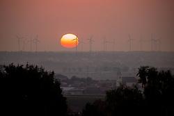 THEMENBILD - Sonnenaufgang bei Windkrafträder im Windpark Parndorf, im Vordergrund Jois, am Mittwoch den 16. September 2020 //  Sunrise at wind turbines in the Parndorf wind farm, Jois in the foreground, on Wednesday September 16, 2020. EXPA Pictures © 2020, PhotoCredit: EXPA/ Johann Groder