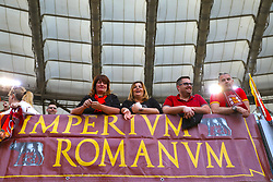 AS Roma fans hang banners in the stands ahead of the UEFA Champions League, Semi Final, Second Leg at the Stadio Olimpico, Rome.
