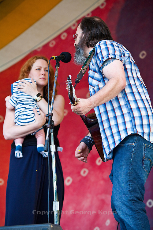 Steve Earle is joined on stage by wife, Allison Moorer and son at the 2010 Clearwater Festival, Croton-on-Hudson, NY.