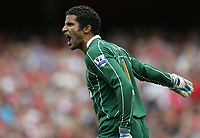 Photo: Lee Earle.<br /> Arsenal v Portsmouth. The FA Barclays Premiership. 02/09/2007.Portsmouth keeper David James looks frustrated after Arsenal score their second.