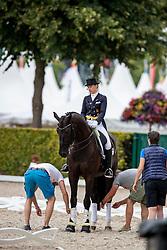 MÜLLER-LÜTKEMEIER Fabienne (GER), Fabregaz<br /> Aachen - CHIO 2018<br /> Abreiteplatz Vorbereitung zum Grand Prix Special<br /> 20. Juli 2018<br /> © www.sportfotos-lafrentz.de/Stefan Lafrentz