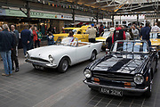 Triumph TR6 and Sunbeam vintage cars on show at a monthly meet up in Greenwich Market in London, England, United Kingdom.
