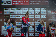 Women's Podium: 2nd, #116 (AFREMOVA Natalia) RUS; 1st #110 (SMULDERS Laura) NED; 3rd #6 (STANCIL Felicia) USA  at Round 9 of the 2019 UCI BMX Supercross World Cup in Santiago del Estero, Argentina
