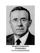 Andrei Gromyko in 1984. (1909 – 1989). Soviet  Russian statesman during the Cold War. Minister of Foreign Affairs (1957–1985) and Chairman of the Presidium of the Supreme Soviet (1985–1987).