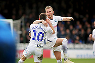 Wycombe midfielder Matthew Bloomfield (10) celebrates his goal with Wycombe defender Jason McCarthy (26) during the EFL Sky Bet League 1 match between Peterborough United and Wycombe Wanderers at London Road, Peterborough, England on 2 March 2019.