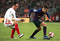 October 20, 2018 - Barcelona, Catalonia, Spain - Philippe Coutinho and Roque Mesa during the match between FC Barcelona and Sevilla CF, corresponding to the week 9 of the Liga Santander, played at the Camp Nou, on 20th October 2018, in Barcelona, Spain. (Credit Image: © Joan Valls/NurPhoto via ZUMA Press)