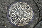 Budapest Hungary Coat of arms on a manhole cover