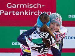 13.02.2011, Kandahar, Garmisch Partenkirchen, GER, FIS Alpin Ski WM 2011, GAP, Damen Abfahrt, im Bild zweite, silber Medaille, Lindsey Vonn (USA) gratuliert Goldmedaillen Gewinnerin und Weltmeisterin Elisabeth Goergl (AUT) // second, siver Medal Lindsey Vonn (USA) gratulates World Champion and Gold Medal Winner Elisabeth Goergl (AUT) during womens Downhill, Fis Alpine Ski World Championships in Garmisch Partenkirchen, Germany on 13/2/2011, 2011, EXPA Pictures © 2011, PhotoCredit: EXPA/ J. Feichter
