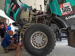 January 5, 2019 - Lima, Lima, Peru - Iveco Truck 505, Federico Villagra, Adrian Yacopini and Ricardo Torlaschi from Argentina, Petronas De Rooy Iveco team,  passing the technical scrutineering. The Dakar rally runs this year 100% in Peru. (Credit Image: © Carlos Garcia Granthon/ZUMA Wire)