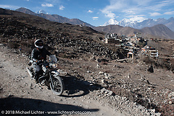 Grant Peterson riding back to Muktinath from the Buddhist temple above the town on day-6 of our Himalayan Heroes adventure riding from Muktinath to Tatopani, Nepal. Sunday, November 11, 2018. Photography ©2018 Michael Lichter.