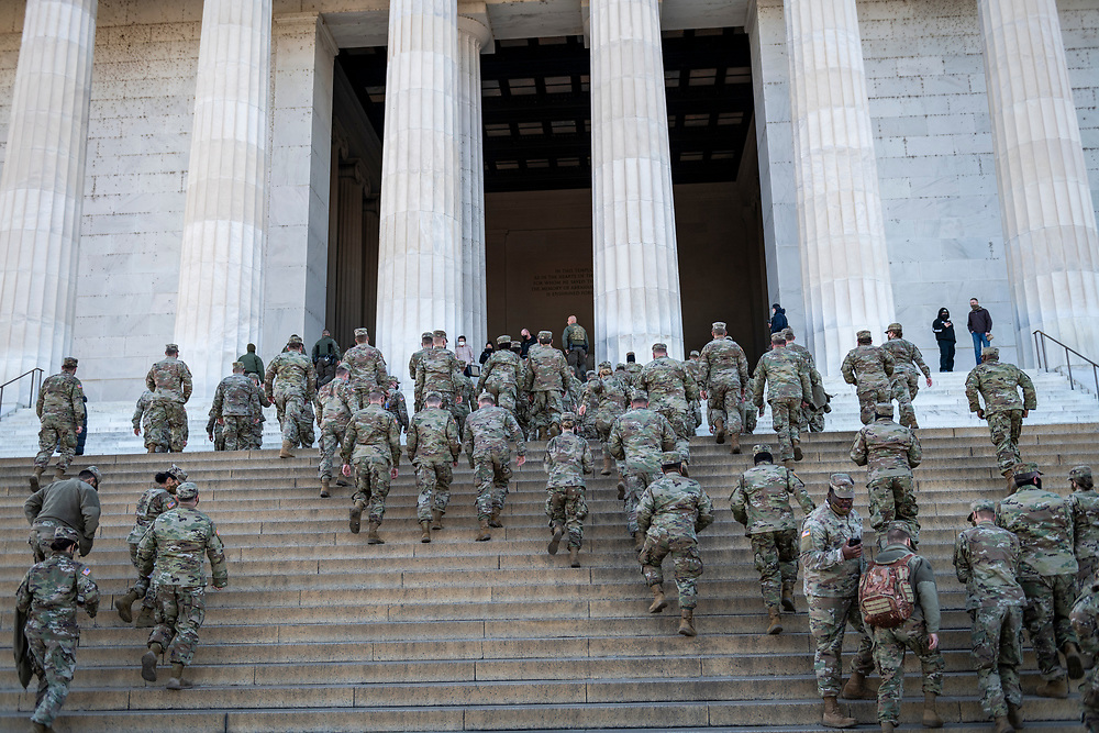 Washington DC, USA - January 22, 2021: Members of the Kentucky National Guard deployed to Washington DC visit the Lincoln Memorial during some time off after the Presidential Inauguration of Joseph Biden.