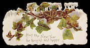 May the New Year be bright and happy printed on an ancient, 19th Century Christmas and New Year Greeting card printed by Raphael Tuck & Sons Ltd: May the New Year be bright and happy 1896