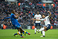 Spurs Mousa Dembele (19) shoots during the The FA Cup 3rd round match between Tottenham Hotspur and AFC Wimbledon at Wembley Stadium, London, England on 7 January 2018. Photo by Robin Pope.