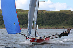 Peelport Clydeport, Largs Regatta Week 2014 Largs Sailing Club based at  Largs Yacht Haven with support from the Scottish Sailing Institute & Cumbrae.<br /> <br /> Fast Handicap, 18Ft SKIFF, Craig Hepplewhite, Catriona & John Annan