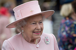 Queen Elizabeth II during a garden party at Buckingham Palace in London.