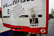 London, United Kingdom, June 27, 2021: (EDITOR'S NOTE: Use of Strong profanity Language) Protestors attached political messages using stickers on traffic signs outside Westminster Palace, Parliament Square during an anti-government musical rave in central London on Sunday, June 27, 2021. (VX Photo/ Vudi Xhymshiti)