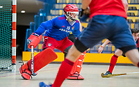 AMSTERDAM -  Amsterdam keeper keeper Philip van Leeuwen (Adam) .  Zaalhockey hoofdklasse, Amsterdam H1-Laren H1 (9-1). COPYRIGHT KOEN SUYK