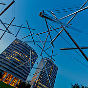 """Triple Crown """"Tensegrity"""" public art installation by Kenneth Snelson at Crown Center in Kansas City MO."""
