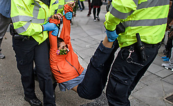 © Licensed to London News Pictures. 08/10/2019. London, UK. An Extinction Rebellion activists being removed by police from outside Home Office in Westminster. Activists have converged on Westminster for a second day, blockading roads in the area and calling on government departments to 'Tell the Truth' about what they are doing to tackle the Emergency. Photo credit: Ben Cawthra/LNP