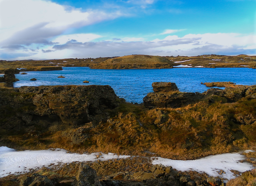 Mývatn is a shallow eutrophic lake situated in an area of active volcanism in the north of Iceland, not far from Krafla volcano. The lake and its surrounding wetlands have an exceptionally rich fauna of water birds, especially ducks.
