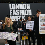 London, England, UK. 15th September 2017. Animal rights activists protest at The London Fashion Week opening day Anti-Fur at The Strand.