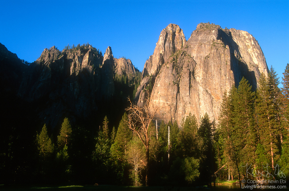 Early morning light illuminates the Cathedral Rocks in the Yosemite Valley..