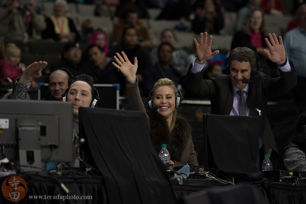 January 4, 2018; San Jose, CA, USA; NBC broadcasters Johnny Weir (left), Tara Lipinski (center), and Terry Gannon (right) in the mens short program during the 2018 U.S. Figure Skating Championships at SAP Center.