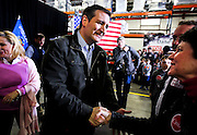Presidential candidate Sen. Ted Cruz, R-Tx., greets supporters at Dane Manufacturing, a small metal fabrication company in a suburb of Madison, Wisconsin on March 24, 2016. Cruz will be campaigning around the state in advance of the Wisconsin Presidential primary to be held on April 5. REUTERS/Ben Brewer